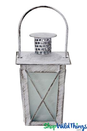 "Candle Lantern - Square Hurricane Antique White 6 1/2"""