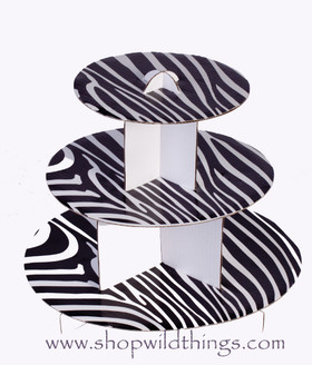 "Cardboard Cake Stand 12"" x 10"" - Zebra - Black & White"