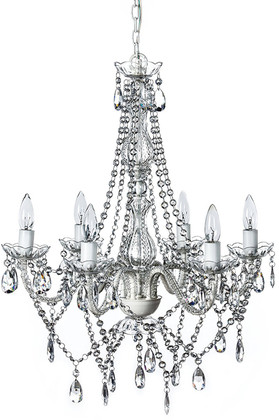"""Chandelier Bohemian Clear - 27"""" x 23"""" - 6 Lights - Hardwire - Collapsible"""