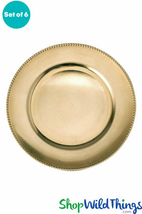 """Charger Plate - Brushed Gold w/Beaded Trim 13"""" Set of 6"""