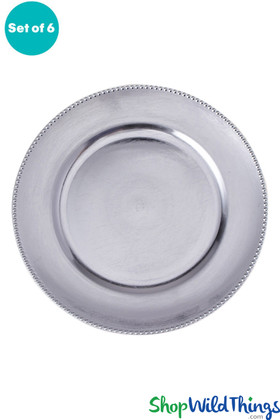 """Charger Plate - Brushed Silver w/Beaded Trim 13"""" Set of 6"""