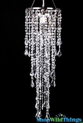 """Chandelier Diamante Duo Delight - Silver - 33.5"""" long x 10.25"""" Diameter"""