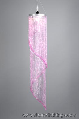 Chandelier Chelsea Swirl Crystals- Pink Iridescent - 4 ft