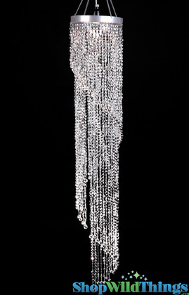 Silver Swirling Chandelier Metallic Beaded Hanging Decoration ShopWildThings.com