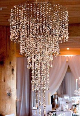 Metallic Silver Beaded Wedding Chandelier ShopWildThings.com