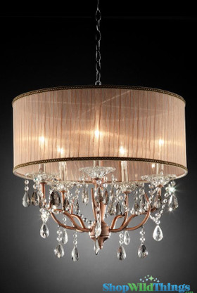 """Downton"" Copper & Crystal - 25"" x 22"" - 5 Lights!"