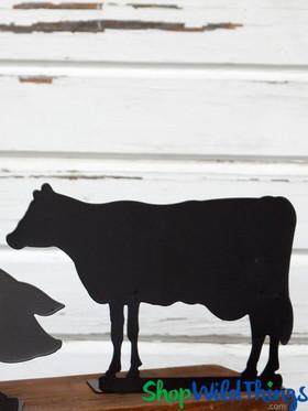BOGO Blackboard - Cow Metal Chalkboard Sign