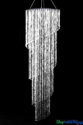 Large Swirling Beaded Crystal Diamonds Event Chandelier ShopWildThings.com