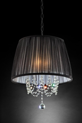 """Chandelier """"Chatelaine"""" Real Crystals - 17"""" x 19"""" - 3 Lights - Hardwire"""