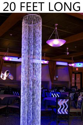 Diamonds Crystal Sparkling Iridescent Column 20 ft - Round - PREMIUM QUALITY BEADS!