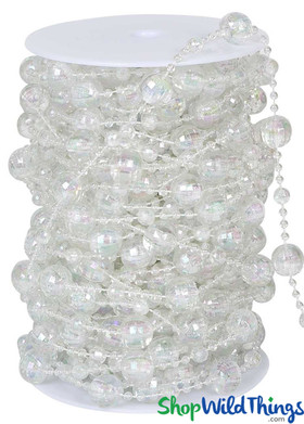 Roll of Beads 20 Yards (60 ft) - Crystal Iridescent Disco Balls