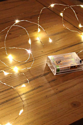 DazzLED Fairy String Light - 20 Warm White LEDs - Waterproof - Battery Operated 7'