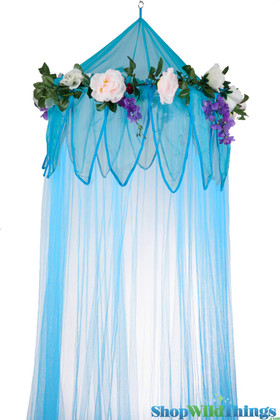 """BOGO Canopy """"Fairytale"""" Blue With Flower Garland Mosquito Net"""