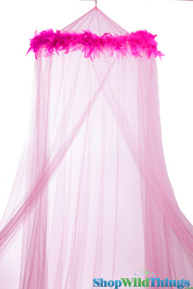"""BOGO Canopy """"Mimi"""" Pink With Pink Feather Garland Mosquito Net"""