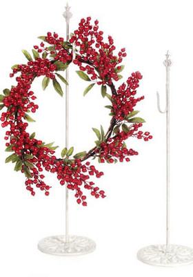 "Hanger for Wreaths & Floral Decor -  Antique White Metal 30"""