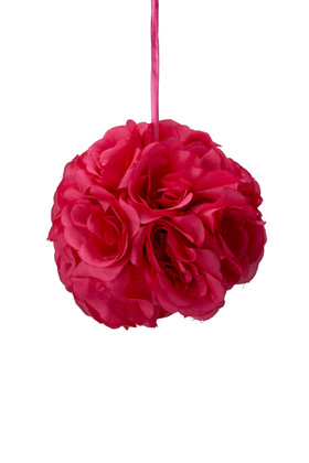 "Flower Ball - Silk Rose - Pomander Kissing Ball 6"" - Fuchsia"