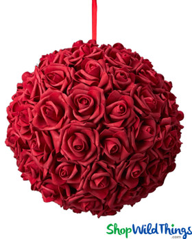 "Real Feel Flower Ball - Foam Rose - Pomander Kissing Ball - 11 1/2"" Red"