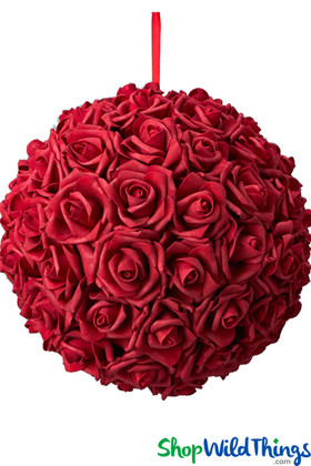 "Real Feel Flower Ball - Foam Rose - Pomander Kissing Ball - 13"" Red"
