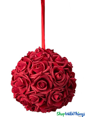 "Real Feel Flower Ball - Foam Rose - Pomander Kissing Ball - 6"" Red"