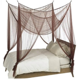 """BOGO Canopy """"Zanzibar"""" Brown Four Point Luxury Quality Mosquito Net"""