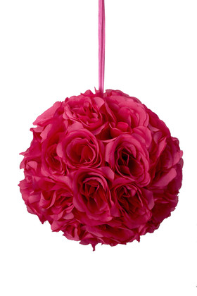 "Flower Ball - Silk Rose - Pomander Kissing Ball 8.5"" - Fuchsia"
