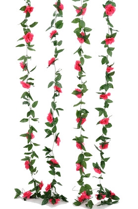 Artificial Fuchsia Pink Roses and Leaves Garland | 8Ft Long  Wedding and Event Decoration | ShopWildThings.com