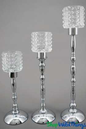 "Geometric Cut Glass Candle Stands, ""Benita"" Silver Set of 3"