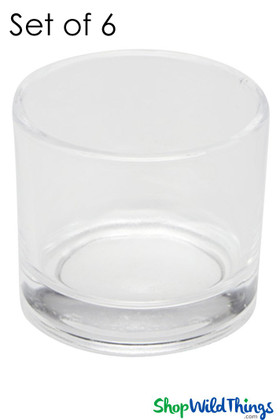 """Vase or Candle Holder 6pcs Glass Round - Clear 2"""""""