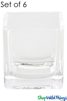 "Vase - Glass Square - Clear 2 1/4"" - Set of 6"