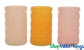 "SALE ! Embossed Glass Pastel Votive Holders - Set of 3 Colors - 3.75"""