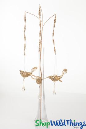 Gold bird ornaments | Decorative bird glitter spray | ShopWildThings.com