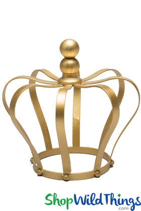 """Crown Centerpiece, Cake Topper, Candle Holder - Gold 8"""""""
