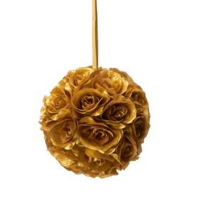 """Flower Ball - Silk Rose - Pomander Kissing Ball 6"""" - Gold"""
