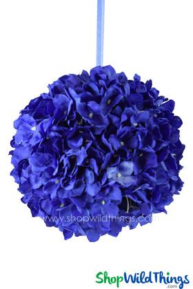 "Flower Ball - Silk Hydrangea - Pomander Kissing Ball 6"" - Royal Blue"