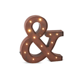 "CLEARANCE! Vintage Style Marquee LED Lighted ""&"" Sign, Rustic Brown, 12"" - Metal w/ Timer - Metal Body"