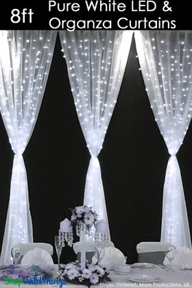 LED Organza Curtain - 200 Lights - 4' x 8' - Pure White (Fabric Included)