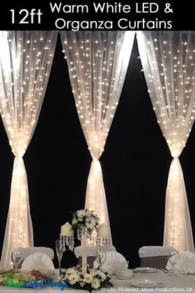 LED Organza Curtain - 288 Lights - 3' x 12' - Warm White (Fabric Included)
