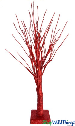 LED Glitter Tree - 24 Warm White Lights - Red 2' - Battery Operated