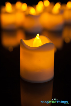 """LED Votive 12 Pack """"Melted"""" Flicker Candle Amber, 1.5"""" Wide x 1.5"""" Tall"""