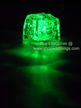 LED Ice Cube LiteCubes - Green Light - Flashing or Steady - Waterproof, Freezable