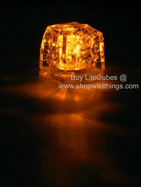 LED Ice Cube LiteCubes - Orange Light - Flashing or Steady - Waterproof, Freezable