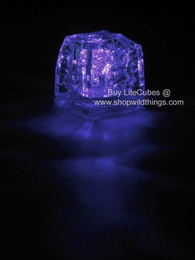 LED Ice Cube LiteCubes - Purple Light - Flashing or Steady - Waterproof, Freezable