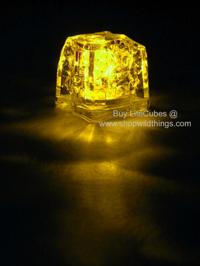 LED Ice Cube LiteCubes - Yellow Light - Flashing or Steady - Waterproof, Freezable