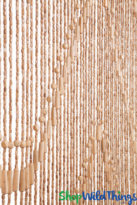 """Wooden Bead Curtain - """"Lark"""" Light - 35"""" x 76"""" - 52 Strands (Extra Coverage)"""