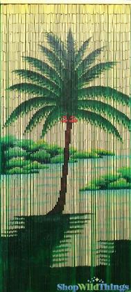 "Bamboo Painted Beaded Curtain ""Pili Lani"" - 90 Strands"