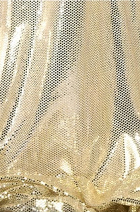 """""""Ritzy Round"""" Spangles Gold & Ivory - Fabric 44"""" x  5 yards"""