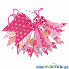 BOGO Bunting -  Paper Flag & Beads -  Pink Glitter - 10 Feet Long