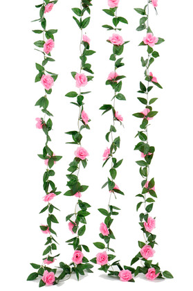 Artificial Pink Roses and Leaves Garland | 8Ft Long  Wedding and Event Decoration | ShopWildThings.com
