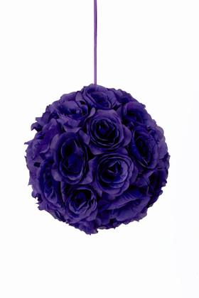 "Flower Ball - Silk Rose - Pomander Kissing Ball 8.5"" - Purple"