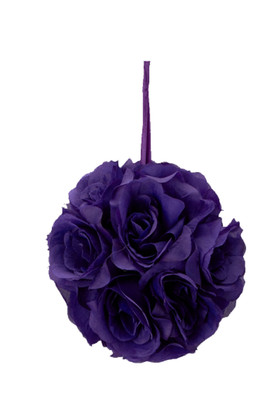 "Flower Ball - Silk Rose - Pomander Kissing Ball 6"" - Purple"